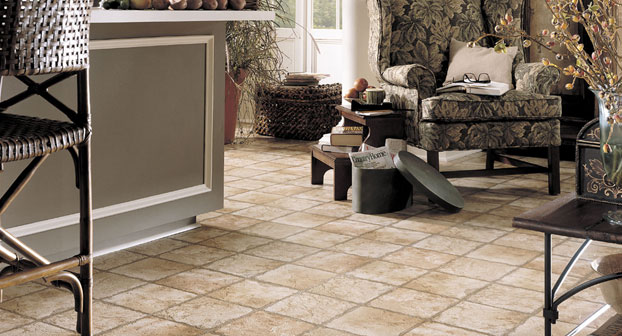 Indian Slate Luxury Vinyl Sheet in Sunstone with Adobe by Mannington | Great Floors Canada