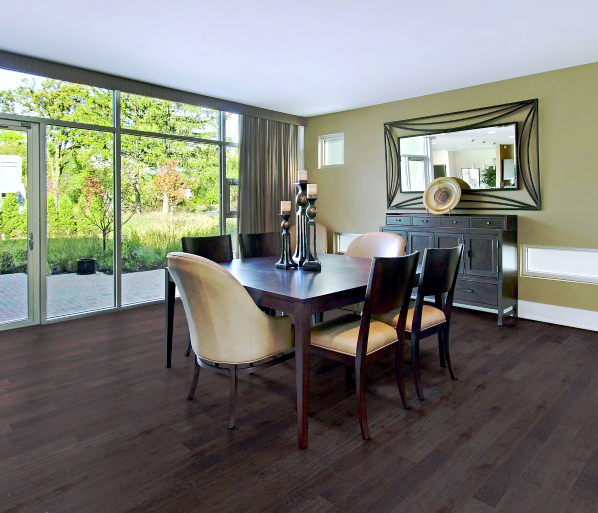 Dining room featuring Mod LVP by Beaulieu in chocolate