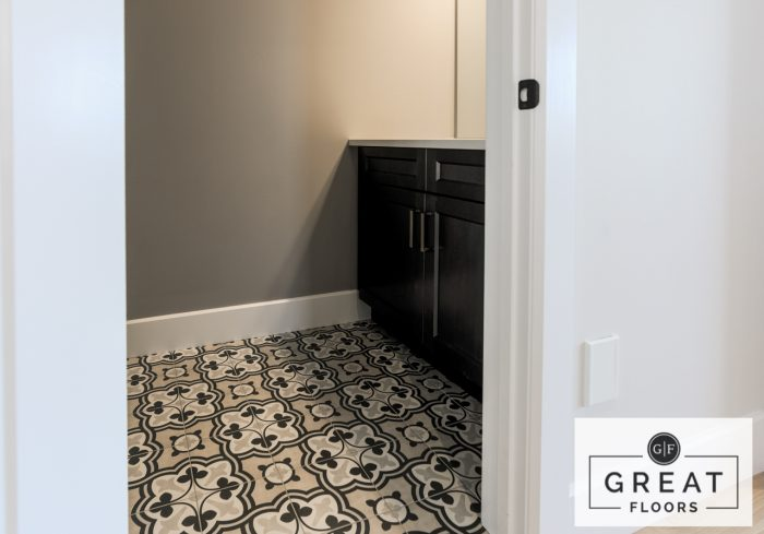 Bathroom: Anatolia Deco Baroque Sand Tile - A Great Floors Project (London, Ontario)