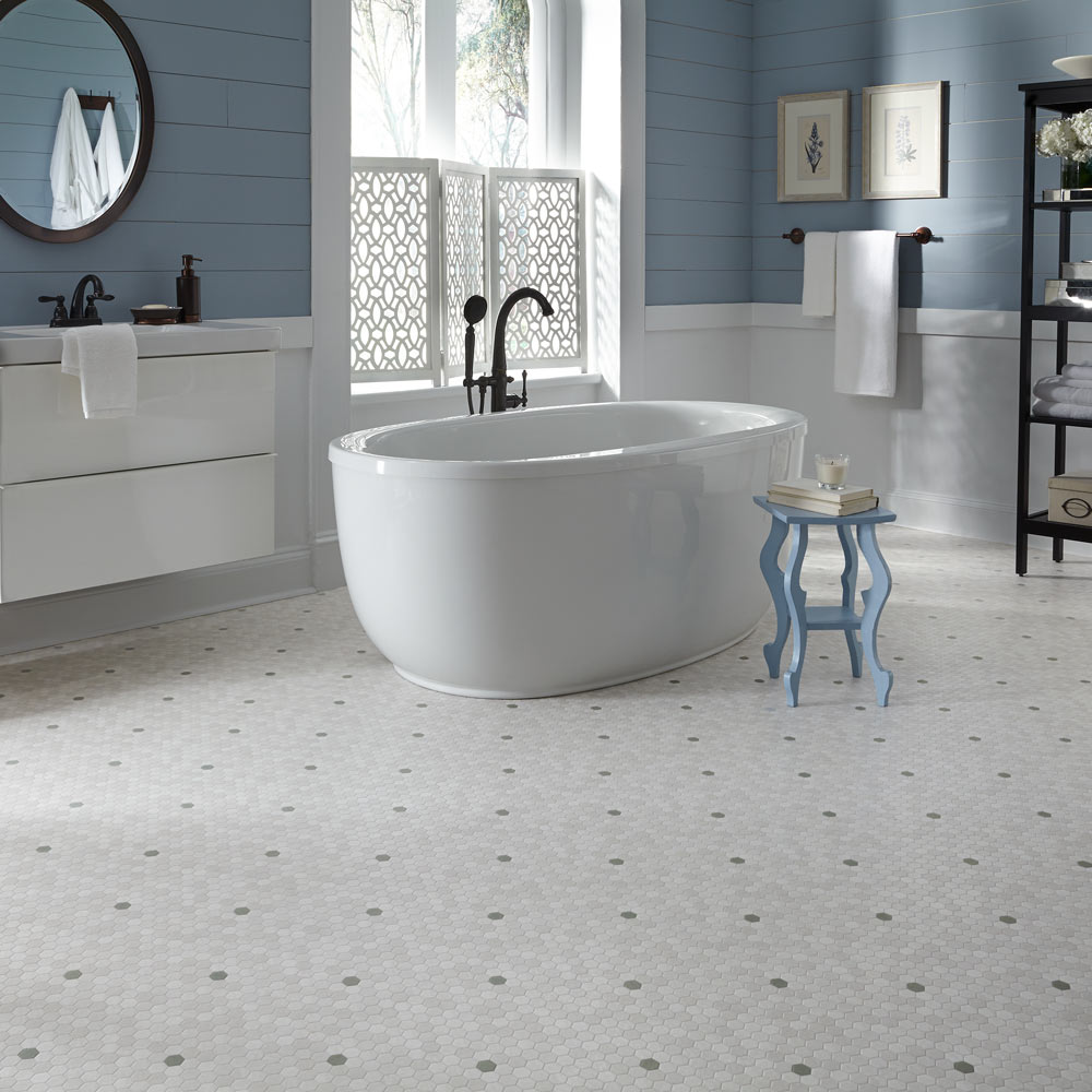 Bathroom featuring Mannington Pennylane tile at Great Floors