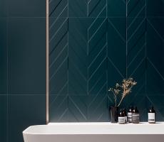 ceragres progetto chevron tile deep blue london ontario room scene