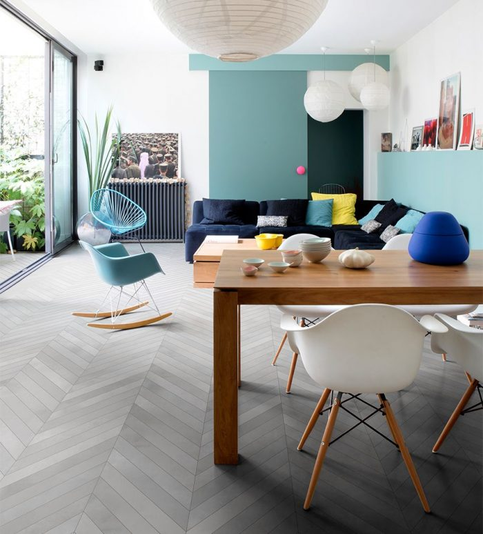Great Room: Ceragres Mate Tera Fumo (Chevron) Floor Tile